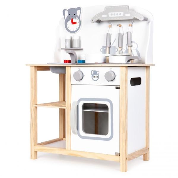 Eco Toys Dřevěná kuchyňka s příslušenstvím, 75 x 59,5 x 29,5 cm - bílá / borovice