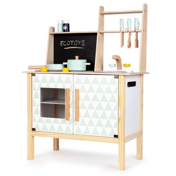 Eco Toys Dřevěná kuchyňka s příslušenstvím, 78 x 60 x 30 cm - bílá / borovice