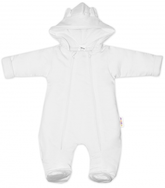 Baby Nellys ® Kombinézka s dvojitým zapínáním, s kapucí a oušky, bílá, vel. 74