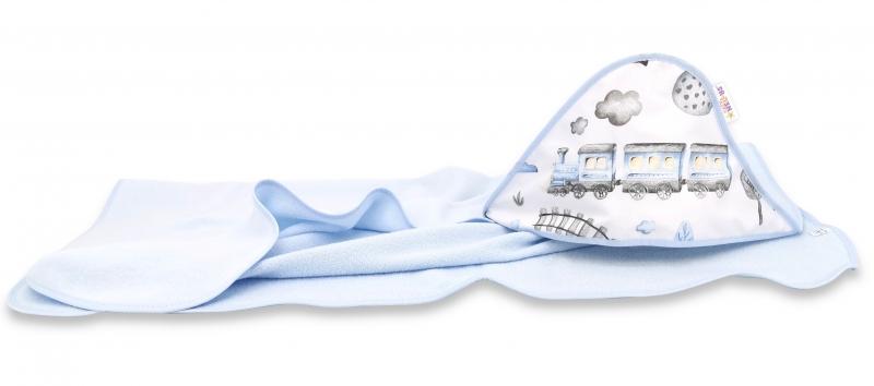 Dětská termoosuška s kapucí Baby Nellys, Vláček 100 x 100 cm, sv. modrá