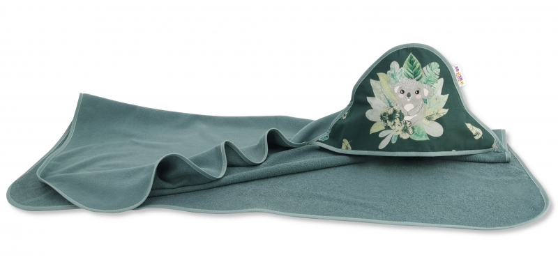 Dětská termoosuška s kapucí Baby Nellys, TROPICAL dark, 100 x 100 cm, tm. zelená