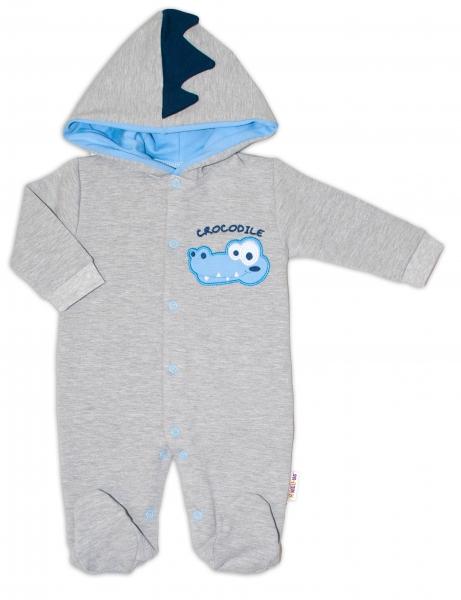 Baby Nellys Teplákový overal Crocodiles - šedá, modrá, vel. 74