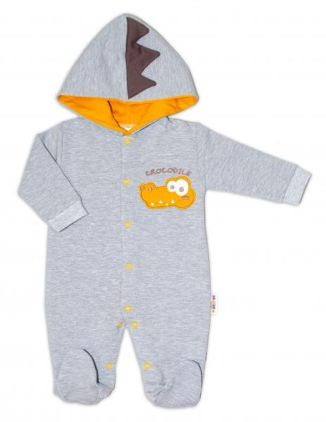 Baby Nellys Teplákový overal Crocodiles - šedá, hořčicová, vel. 86