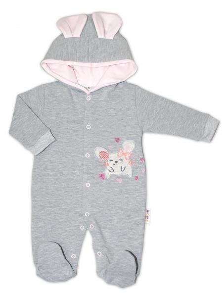 Baby Nellys Teplákový overal Mouse Love - šedá