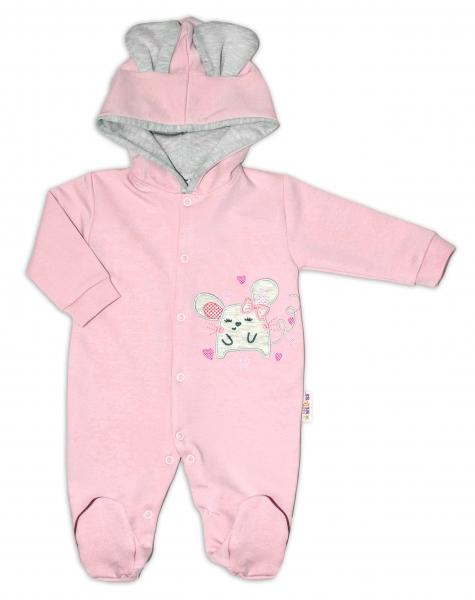 Baby Nellys Teplákový overal Mouse Love - pudrově růžová, vel. 68, Velikost: 68 (4-6m)
