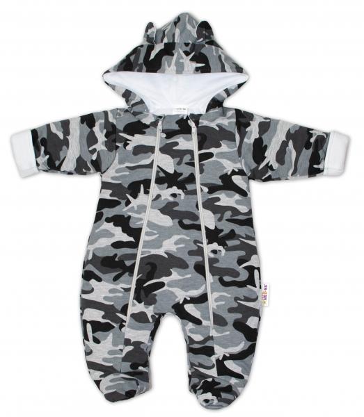 Baby Nellys ® Kombinézka s dvojitým zapínáním, s kapucí a oušky, maskáč šedý, vel. 68