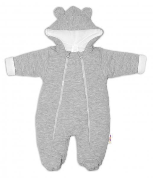 Baby Nellys ® Kombinézka s dvojitým zapínáním, s kapucí a oušky, sv. šedá, vel.74, Velikost: 74 (6-9m)