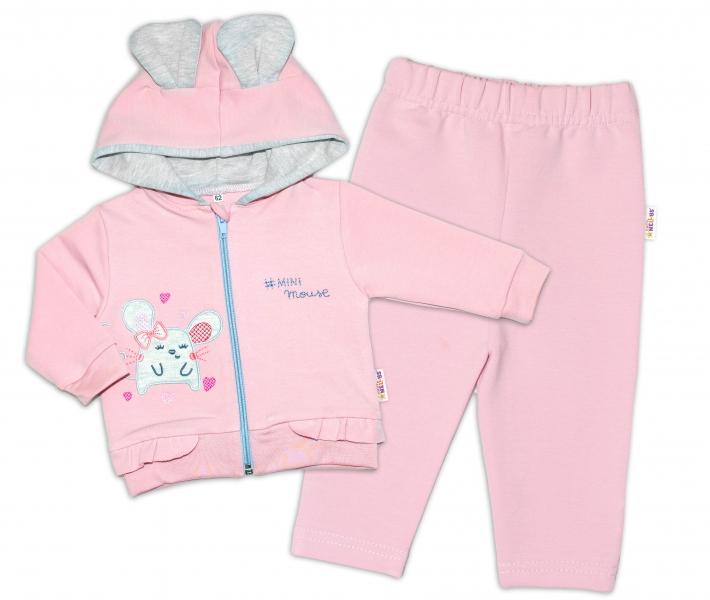 Baby Nellys Tepláková souprava s kapucí, Mouse Love - pudrově růžová, vel. 74, Velikost: 74 (6-9m)