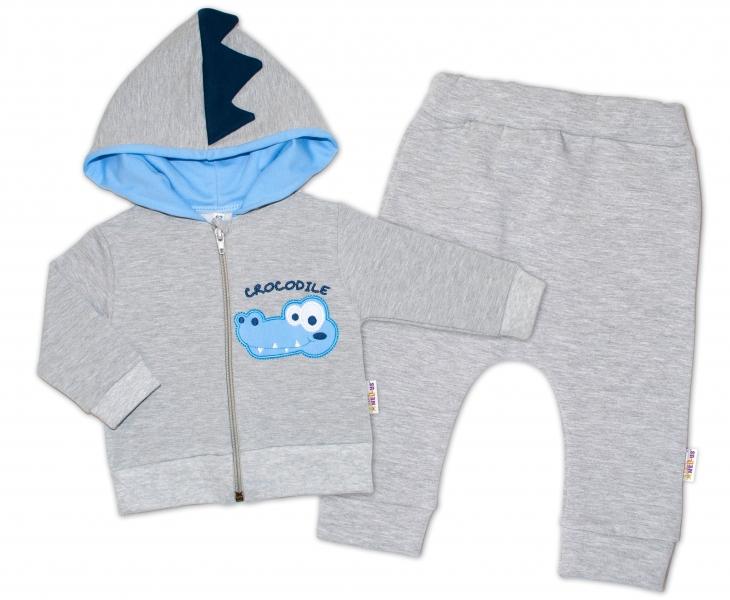Baby Nellys Tepláková souprava s kapucí, Crocodiles - šedá, modrá, vel. 74