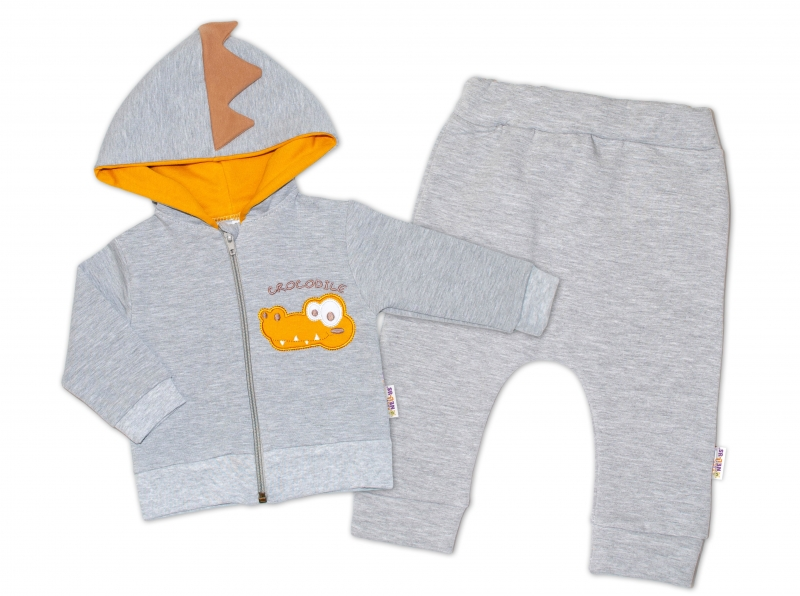 Baby Nellys Tepláková souprava s kapucí, Crocodiles - šedá, hořčicová, vel. 74