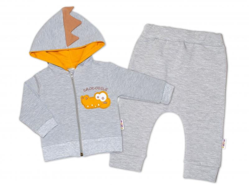 Baby Nellys Tepláková souprava s kapucí, Crocodiles - šedá, hořčicová, vel. 80