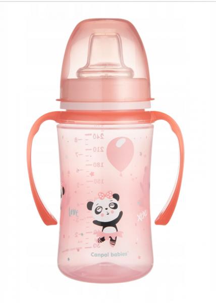 Canpol babies Nevylévací hrníček 240 ml. EasyStart - Panda - růžový