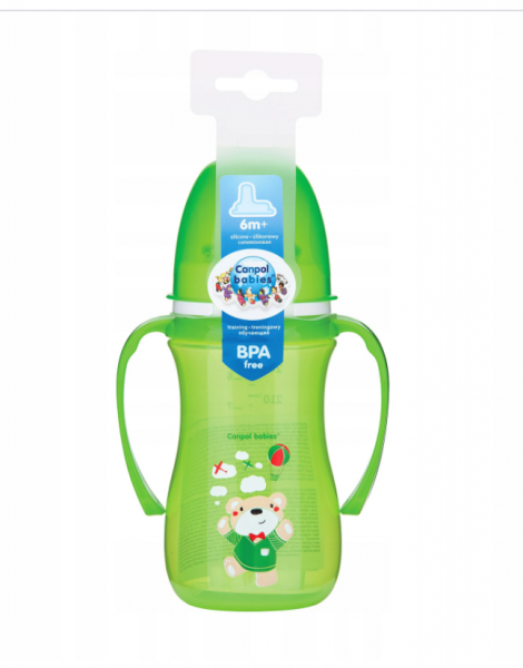 Canpol babies Nevylévací hrníček 240 ml, EasyStart - Medvídek - zelený