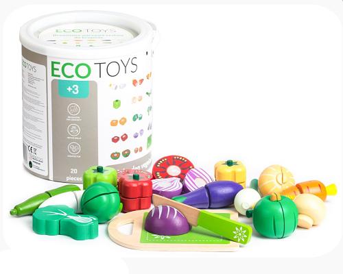 Dřevěné potraviny v kyblíku ECO TOYS - Zelenina, 20 kusů