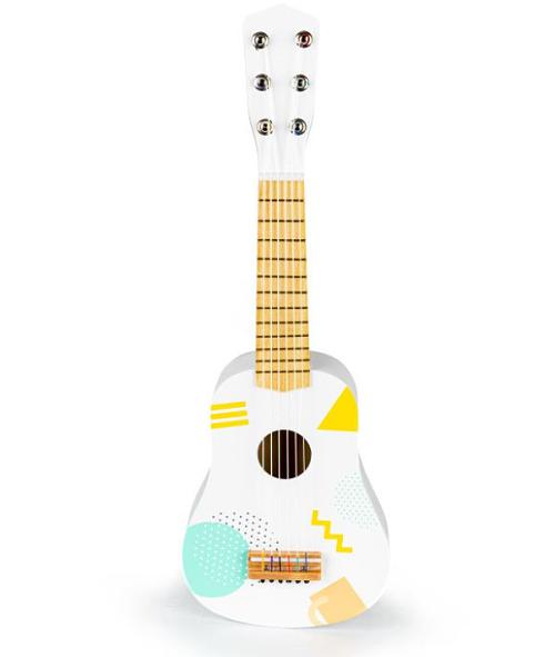 Eco Toys Dřevěná kytara s geometrickými tvary - bílá