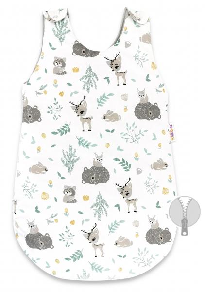 Spací vak Baby Nellys, Lesní zvířátka, 70 cm - mátový