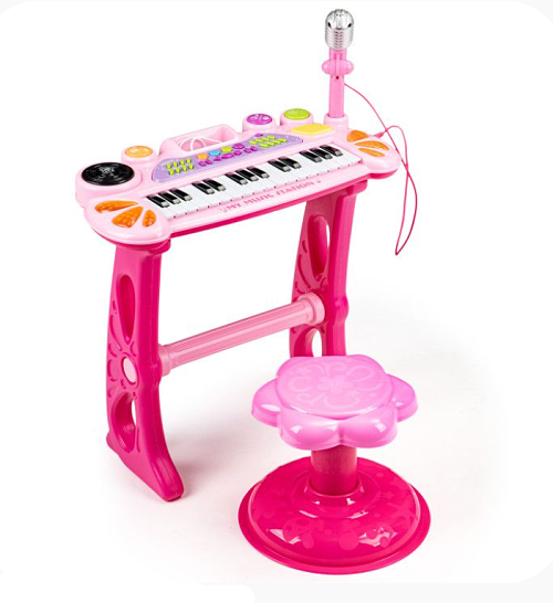Eco Toys Klávesové varhany s mikrofonem mp3 - růžové