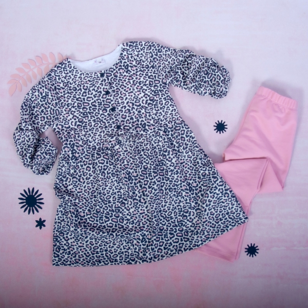 K-Baby 2 dílná sada - šaty + legíny, Gepardík
