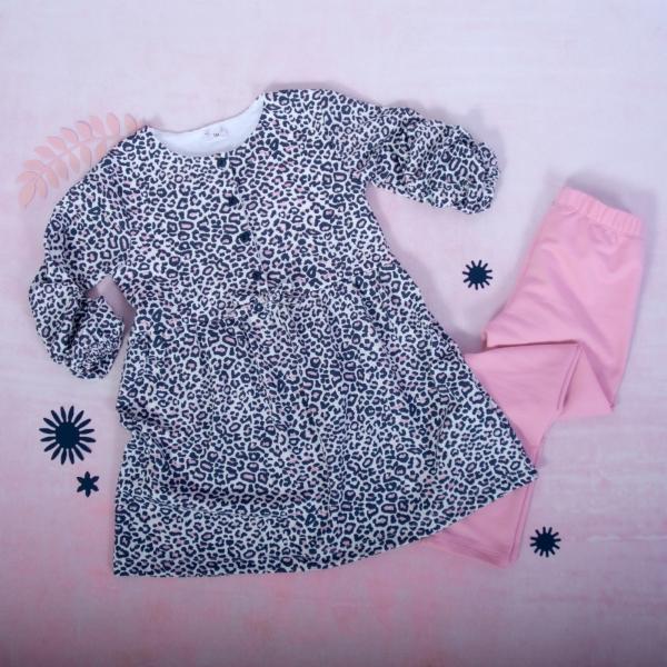 K-Baby 2 dílná sada - šaty + legíny, Gepardík, vel. 74
