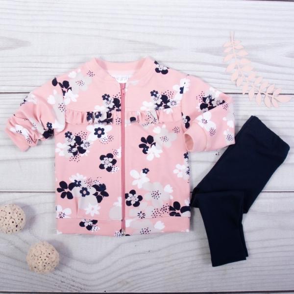 K-Baby 2-sada mikina + legíny, růžová/černá, vel. 92