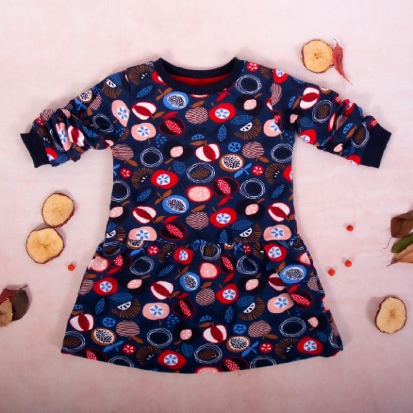 K-Baby Dívčí bavlněné šaty, Ovoce - granátové, vel. 86