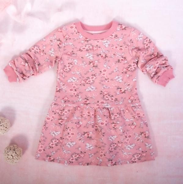 K-Baby Dívčí bavlněné šaty, Kvítky - pudrově růžová, vel. 98