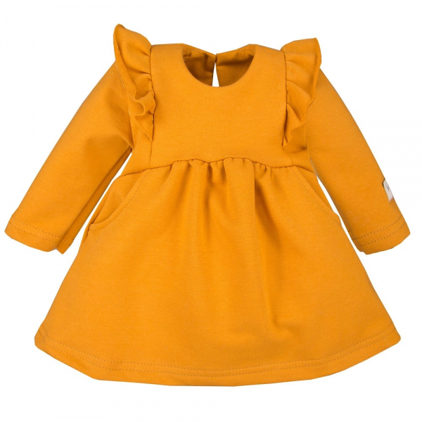 EEVI Dívčí šaty s volánky - hořčicové