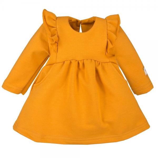 EEVI Dívčí šaty s volánky - hořčicové, vel. 80