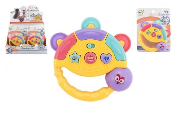 Tamburínka baby plast 12cm 2 barev na baterie se světlem se zvukem na kartě 8ks v box