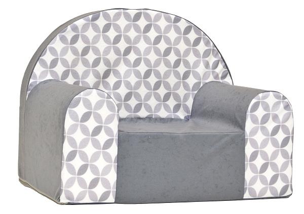 Dětské křesílko/pohovečka Nellys ® - Ornamenty, šedá/bílá