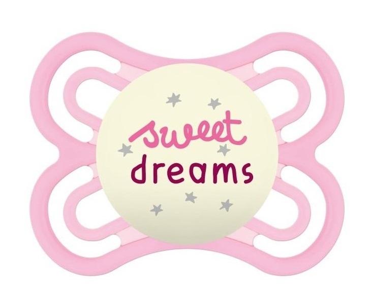 MAM Symetrický dudlík Perfect Night Girl, svítící - Sweet dreams, růžová, 0m +