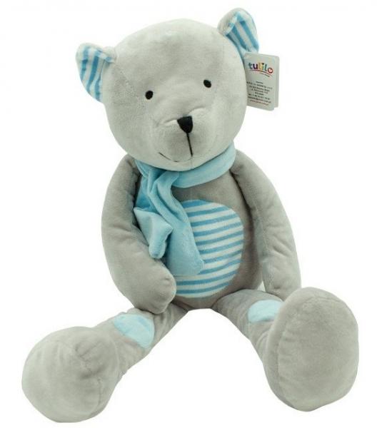 Plyšová hračka Tulilo Medvídek Erik, 33 cm - modrý s proužky
