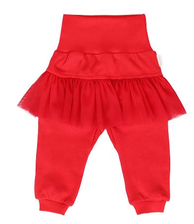 Mamatti Dětské tepláčky s volánkem - červené, vel. 92, Velikost: 92 (18-24m)