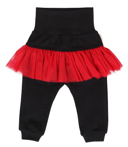 Mamatti Dětské tepláčky s červeným volánkem - černé, vel. 92, Velikost: 92 (18-24m)