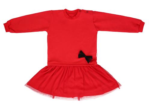 Mamatti Dětské šaty s týlem - červené, vel. 98