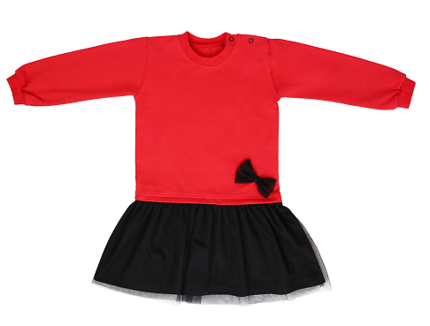 Mamatti Dětské šaty s týlem, červeno-černé, vel. 92, Velikost: 92 (18-24m)