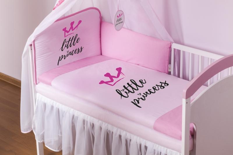 Baby Nellys 3-dílná sada mantinel 180cm s povleč. Little Princess - růžový, roz. 135x100cm