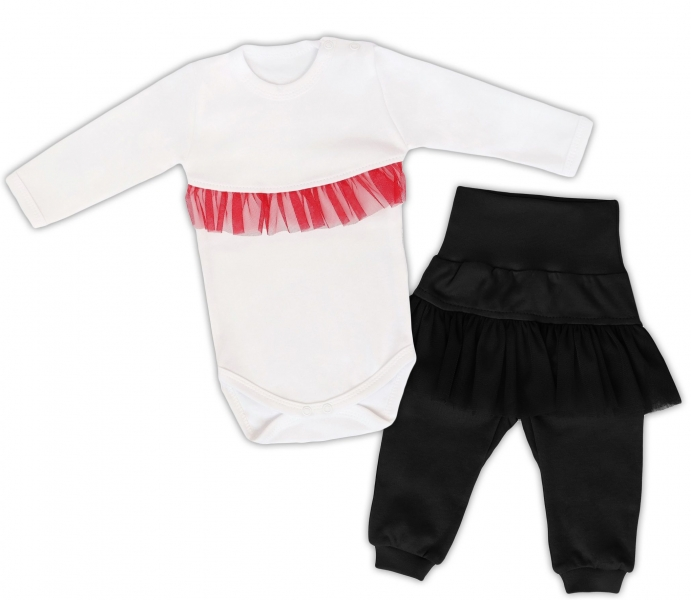 Mamatti 2dílná sada Body dl. rukáv s tutu volánkem, tepláčky s tutu, bílé, černé, vel. 68, Velikost: 68 (4-6m)