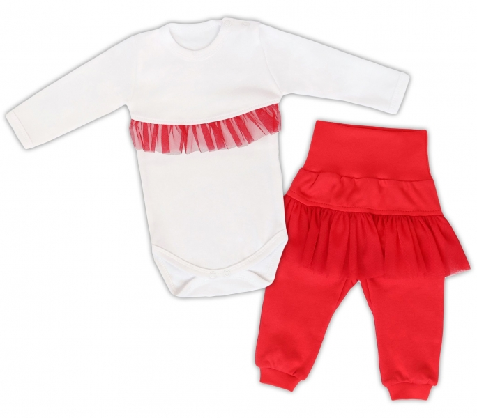 Mamatti 2dílná sada Body dl. rukáv s tutu volánkem, tepláčky s tutu, bílé, červená, vel.80