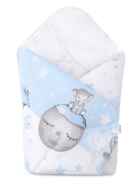 Baby Nellys  novorozenecká zavinovačka, Sloník, 75x75cm, bílá, modrá