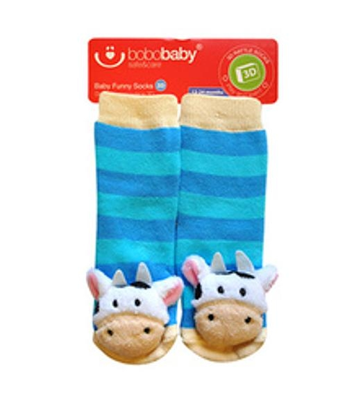 BOBO BABY Dětské protiskluzové ponožky 3D s chrastítkem - Kravička, sv. modrá