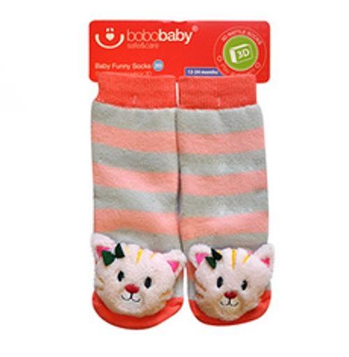 BOBO BABY Dětské protiskluzové ponožky 3D s chrastítkem - Kočička, meruňková