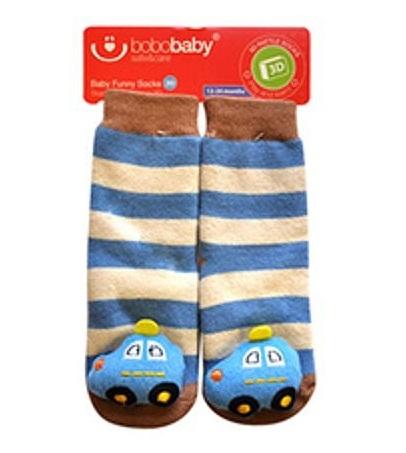 BOBO BABY Dětské protiskluzové ponožky 3D s chrastítkem - Autíčko, modrá