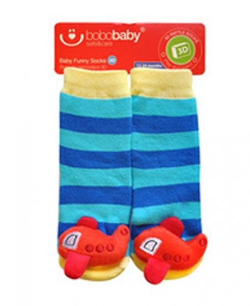 BOBO BABY Dětské protiskluzové ponožky 3D - Letadlo, modrá
