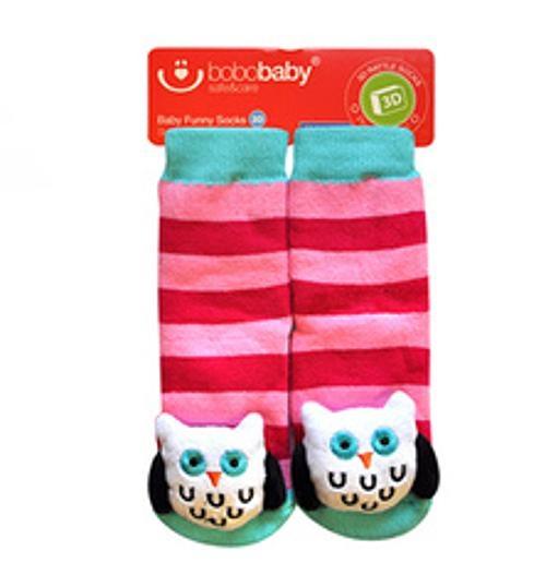 BOBO BABY Dětské protiskluzové ponožky 3D - Sovička, růžová