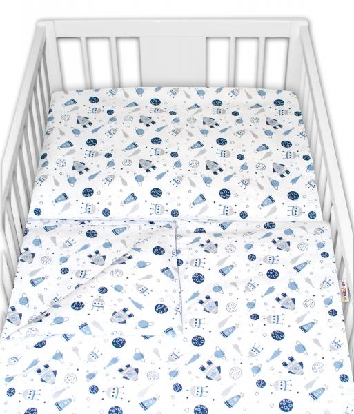 Baby Nellys 2 dílné bavlněné povlečení - Vesmír, bílé, 135 x 100