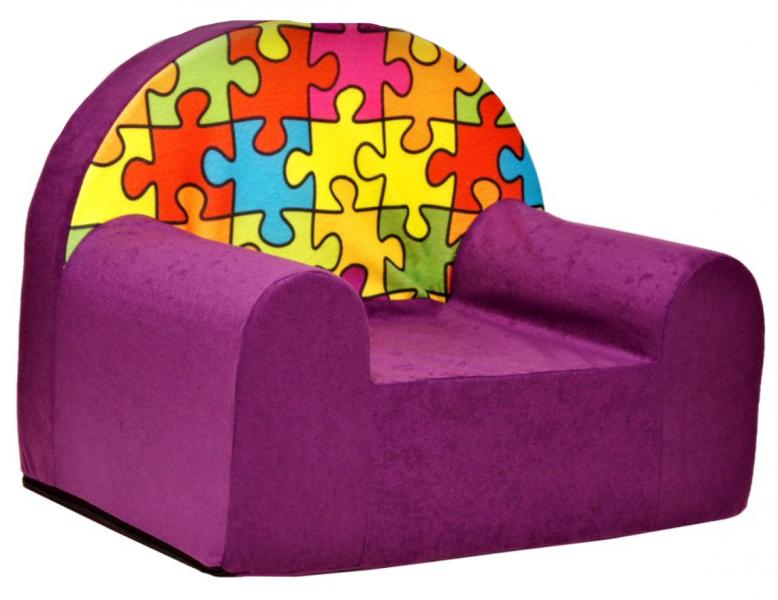Dětské křesílko/pohovečka Nellys ® - Puzzle, fialové