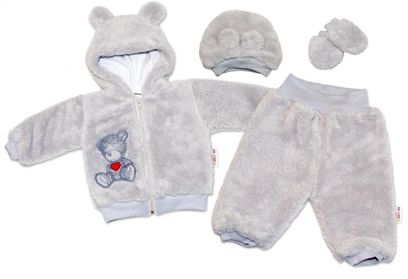 Baby Nellys Chlupáčkový komplet Welsoft Teddy vel. 74 - šedý, Velikost: 74 (6-9m)