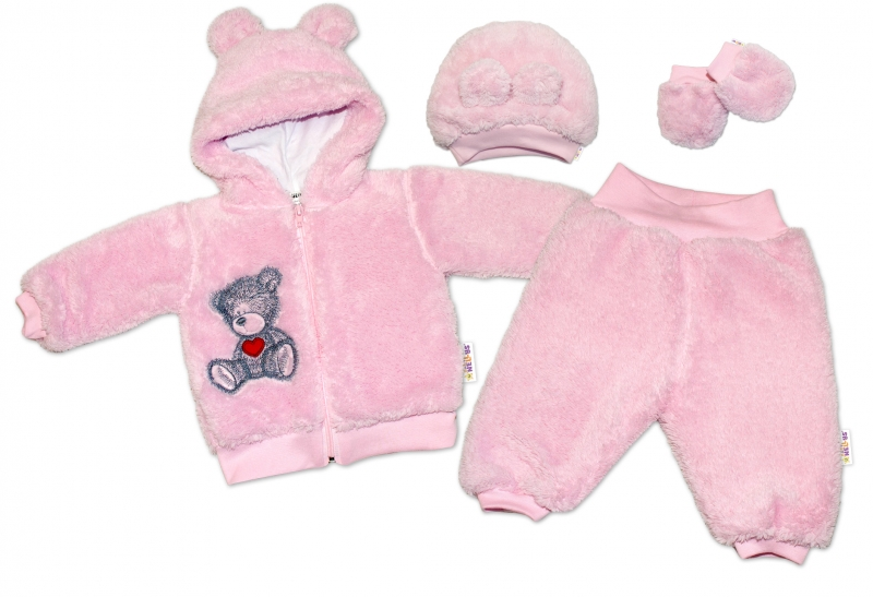 Baby Nellys Chlupáčkový komplet Welsoft Teddy vel. 86 - růžový