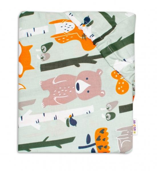 Baby Nellys Bavlněné prostěradlo 60 x 120 - Zvířátka z lesa, khaki